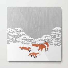Foxes - Winter forest Metal Print