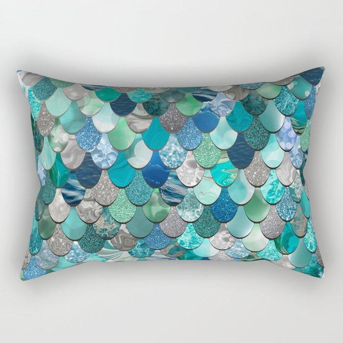 Mermaid Pattern, Sea,Teal, Mint, Aqua, Blue Rectangular Pillow