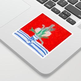 Protea Still Life in Red and Delft Blue Sticker