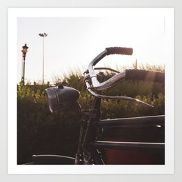 Vintage bicycle, street, and sunset Art Print