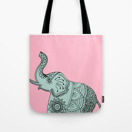 Elephant doodle in mint and pink. Tote Bag