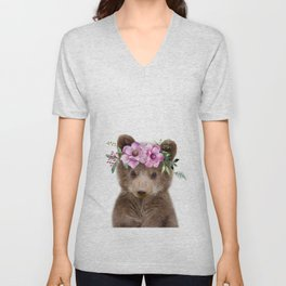 Baby Bear Cub with Flower Crown Unisex V-Neck