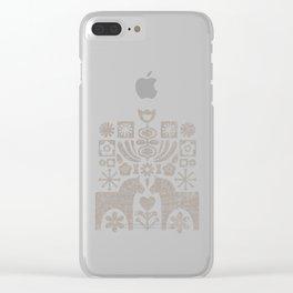 Swedish Folk Art - Warm Gray Clear iPhone Case