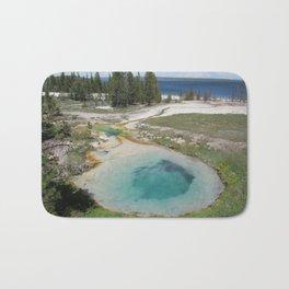 Yellowstone National Park Pool Lake Mountains Trees Bath Mat