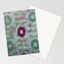 Zinnias in Purple and Green Stationery Cards
