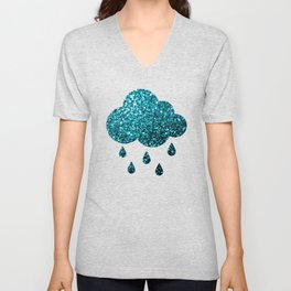 Beautiful Aqua blue glitter sparkles Unisex V-Neck