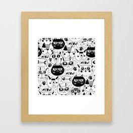 MONOCHROME CAT FACES PATTERN Framed Art Print