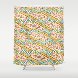 Gypsy Caravan Blue Gingham Shower Curtain