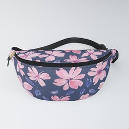 Navy Blue and Blush Floral Pattern | Floral #8 Fanny Pack