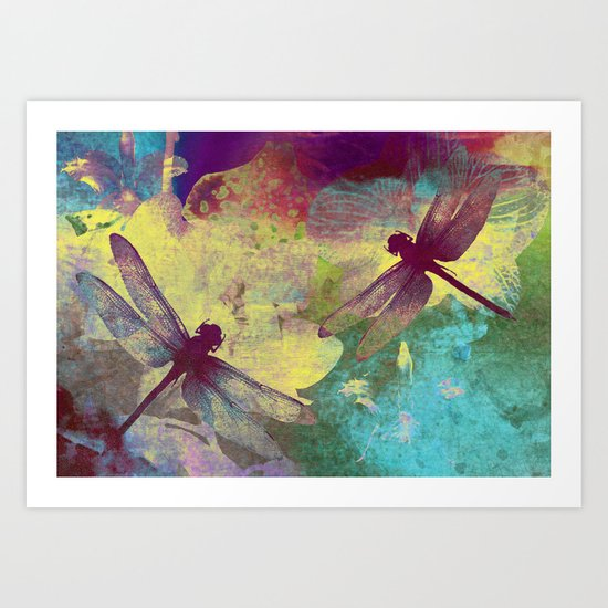 Painting Orchids and Dragonflies Art Print