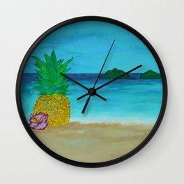 Pineapple On The Beach - Vibrant Wall Clock