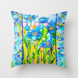Blue Poppies 2 with Border Throw Pillow