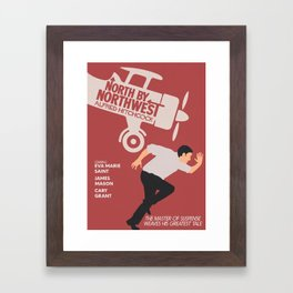 North by northwest, Alfred Hitchcock minimalist movie poster, thriller, Cary Grant, Eva Marie Saint Framed Art Print