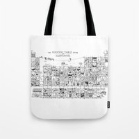 periodic table Tote Bags featuring Periodic Table of the Elephants by DS Art
