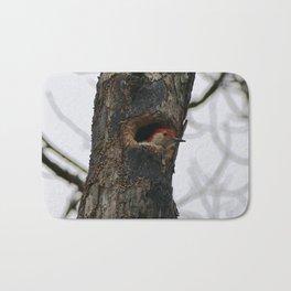 Red bellied woodpecker peeking Bath Mat