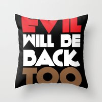 evil Throw Pillows featuring Evil by neil parrish