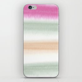 Watercolor Stripe Pink, Green, Peach iPhone Skin