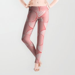 Happy Coral Retro Flowers Abstract Leggings
