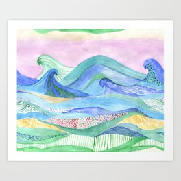 Watercolor abstarct sea and mountans background Art Print