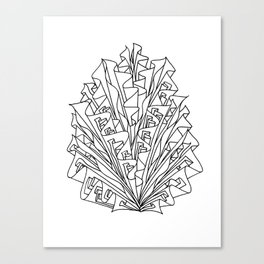 flame line art - white Canvas Print