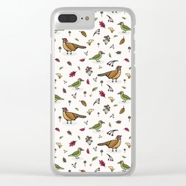 Cute woodpecker and pheasant cartoon pattern Clear iPhone Case