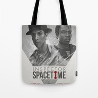 boy Tote Bags featuring Inspector Spacetime  by Sam Spratt