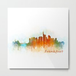 Frankfurt am Main, City Cityscape Skyline watercolor art v3 Metal Print
