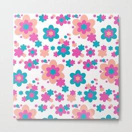 Teal Blue, Hot Pink, and Coral Floral Metal Print