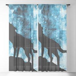 Howling Winter Wolf snowy blue smoke Sheer Curtain