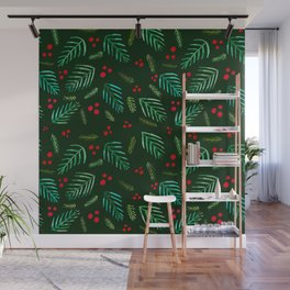 Christmas tree branches and berries - green Wall Mural