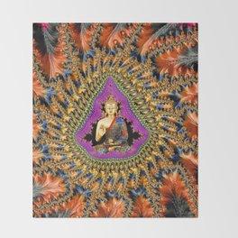 Buddha Mandelbrot Set Throw Blanket