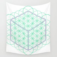 Sacred Geometry - glowing energy lines - cube and flowers Wall Tapestry