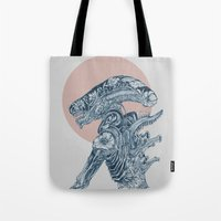xenomorph Tote Bags featuring Floral Alien by Marie Toh