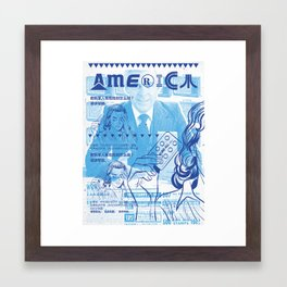 KureAll 300mg America (Navy on Carolina Blue) Framed Art Print