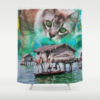 meow Shower Curtains featuring Meow by John Turck
