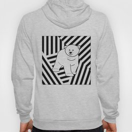Polar bear on a striped background Hoody