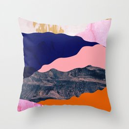 Graphic volcanic mountains Throw Pillow