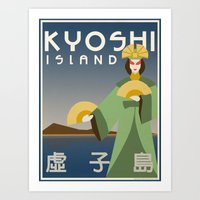 travel poster Art Prints featuring Kyoshi Island Travel Poster by HenryConradTaylor
