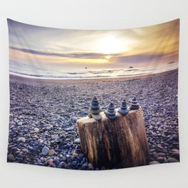 Stacked Rocks at Sunset Wall Tapestry
