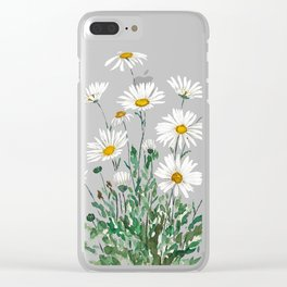 white Margaret daisy watercolor Clear iPhone Case