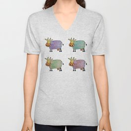 Hand Painted Pastel Astrology Cows  Unisex V-Neck