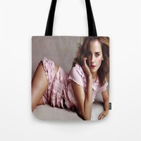 emma watson Tote Bags featuring Emma Watson by Susan Lewis