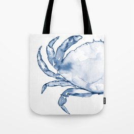 Coastal Crab in Watercolor, Navy Blue (Left Half in Set) Tote Bag