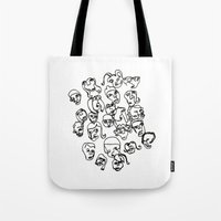 talking heads Tote Bags featuring Talking Heads by Melanie Carter