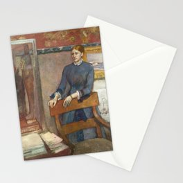 Helene Rouart in her Father's Study by Edgar Degas Stationery Cards