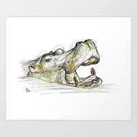 hippo Art Prints featuring Hippo by Ursula Rodgers