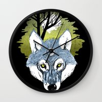moon phase Wall Clocks featuring Wolf Phase by jared stumpenhorst