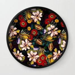 Japanese Floral Pattern Wall Clock