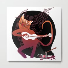 singing cat with a guitar and dinner Metal Print
