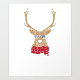 Christmas Reindeer With Cool Glasses Art Print